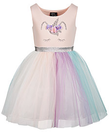 Pink & Violet Little Girls Rainbow Skirt Dress