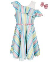 c630eb1f51 Beautees Big Girls 2-Pc. Ruffle-Trim Skater Dress   Hair Bow Set
