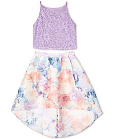 BCX Big Girls 2-Pc. Glitter Lace Top & Floral-Print Skirt Set