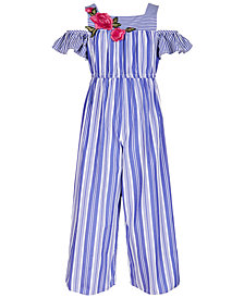 Bonnie Jean Big Girls Embroidered Striped Jumpsuit