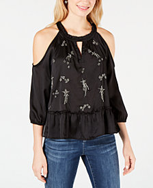I.N.C. Embellished Cold-Shoulder Peplum Blouse, Created for Macy's