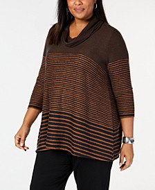 Plus Size Striped Cowl-Neck Tunic