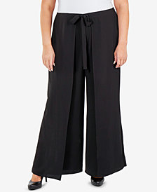 NY Collection Plus Size Skirt-Front Wide-Leg Pants
