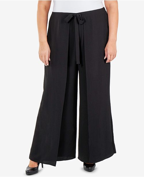 8ef3ef3277f NY Collection Plus Size Skirt-Front Wide-Leg Pants   Reviews - Pants ...