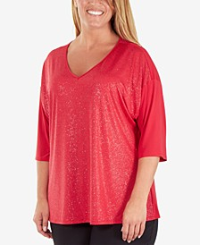 Plus Size Sequin-Front V-Neck Top