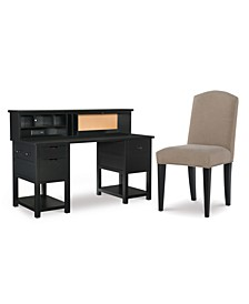 Study Hall Kid's Home Office 3-Pc. Set (Junior Executive Desk, Hutch, & Upholstered Desk Chair)