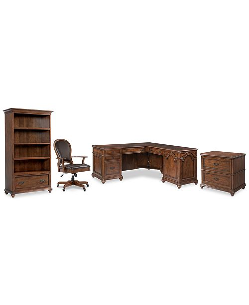 Furniture Clinton Hill Cherry Home Office, 4-Pc. Set (L-Shaped Desk, Lateral File Cabinet, Open Bookcase & Leather Desk Chair), Created for Macy's