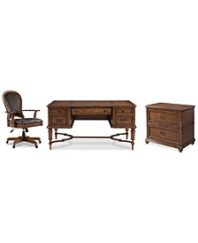 Clinton Hill Cherry Home Office, 3-Pc. Set (Writing Desk, Lateral File Cabinet & Leather Desk Chair), Created for Macy's