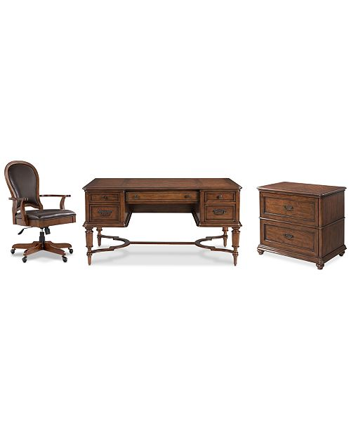 Furniture Clinton Hill Cherry Home Office, 3-Pc. Set (Writing Desk, Lateral File Cabinet & Leather Desk Chair), Created for Macy's