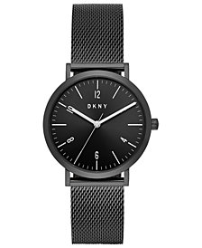 DKNY Women's Minetta Black Stainless Steel Mesh Bracelet Watch 36mm, Created For Macy's