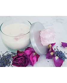 Gratitude Natural Soy Candle with Rose Quartz Crystal: Geranium & Lavender Essential Oils