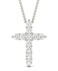 Moissanite Cross Pendant (1-1/10 ct. t.w. Diamond Equivalent) in 14k White Gold