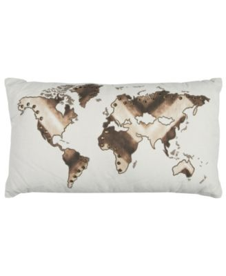 """20"""" x 20"""" World Map Poly Filled Pillow"""