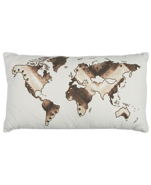 """Rizzy Home 20"""" x 20"""" World Map Pillow Collection"""