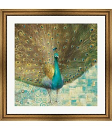 Teal Peacock on Gold by Danhui Nai Framed Art