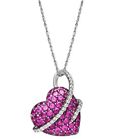 Sterling Silver Necklace, Ruby (2-1/2 ct. t.w.) and Diamond (1/5 ct. t.w.) Heart Pendant
