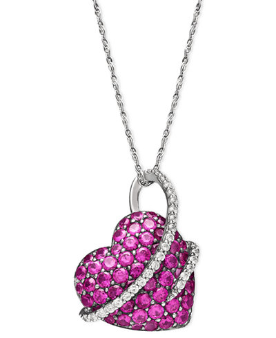Sterling silver necklace ruby 2 12 ct tw and diamond 15 ct sterling silver necklace ruby 2 12 ct tw and aloadofball Image collections
