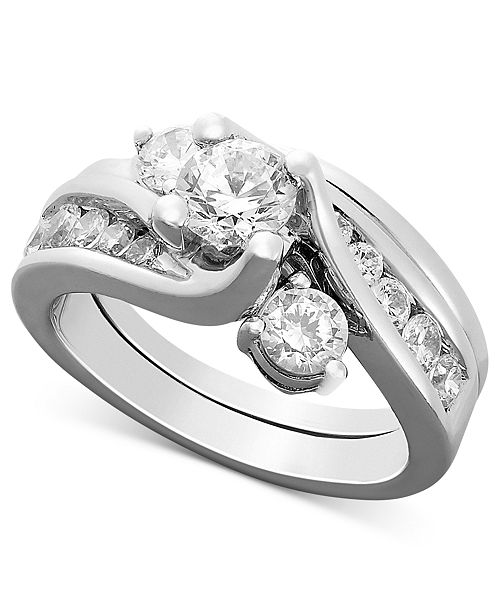 Macy's Certified Diamond Engagement Ring Bridal Set in 14k White Gold (1-1/2 ct. t.w.)