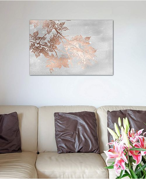 "iCanvas ""Rose Gold Foil Maple On Grey Wash I"" by Jennifer Goldberger Gallery-Wrapped Canvas Print (26 x 40 x 0.75)"