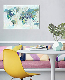 "iCanvas ""Watercolor World Map"" by Xander Blue Gallery-Wrapped Canvas Print (18 x 26 x 0.75)"
