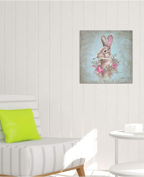 """iCanvas """"Bunny With Wreath"""" by Debi Coules Gallery-Wrapped Canvas Print (26 x 26 x 0.75)"""