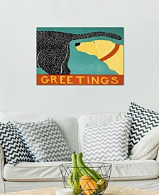 """Greetings Black Yellow"" by Stephen Huneck Gallery-Wrapped Canvas Print (26 x 40 x 0.75)"