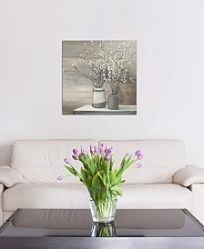 """iCanvas """"Pussy Willow Still Life Gray Pots Crop"""" by Julia Purinton Gallery-Wrapped Canvas Print"""
