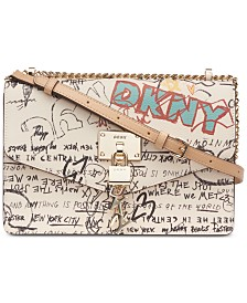 DKNY Elissa Leather Graffiti Chain Strap Shoulder Bag, Created for Macy's