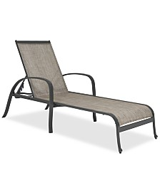 Reyna Aluminum Outdoor Chaise Lounge, Created For Macy's
