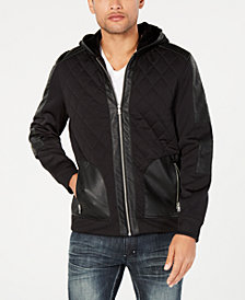 I.N.C. Men's Quilted Faux Leather Hooded Jacket, Created for Macy's