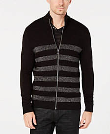 I.N.C. Men's Lurex Striped Zip-Front Sweater, Created for Macy's