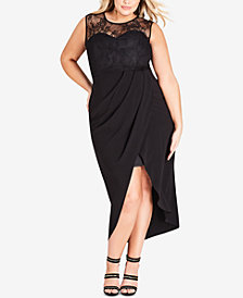 City Chic Plus Size Lace Tulip-Hem Dress