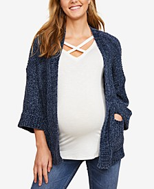 Maternity Chenille Open-Front Cardigan