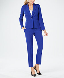 Le Suit Petite One-Button Crepe Pantsuit
