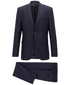 BOSS Men's Regular/Classic-Fit Checked Virgin Wool Suit