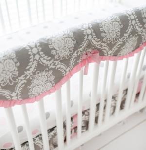 My Baby Sam Olivia Rose Crib Rail Cover Bedding In Gray