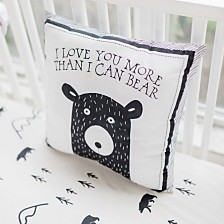 Little Black Bear Throw Pillow 14x14