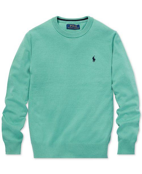 cdfa58cef Polo Ralph Lauren Big Boys Cotton Crew-Neck Sweater   Reviews ...