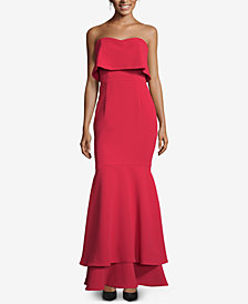 XSCAPE Popover Tiered-Hem Evening Gown