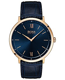 Hugo Boss Men's Essential Ultra Slim Blue Leather Strap Watch 40mm