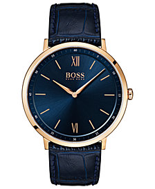 BOSS Hugo Boss Men's Essential Ultra Slim Blue Leather Strap Watch 40mm