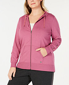 Ideology Plus Size Lace-Up Sleeve Zip Hoodie, Created for Macy's