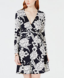 One Clothing Juniors' Printed Wrap Dress