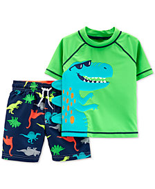 Carter's Toddler Boys 2-Pc. Dinosaur Rash Guard & Swim Trunks Set