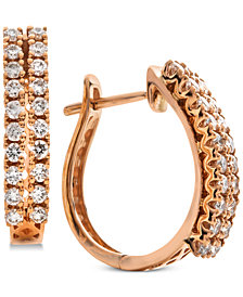 Diamond Double Row Huggie Hoop Earrings (5/8 ct. t.w.) in 14k Rose Gold