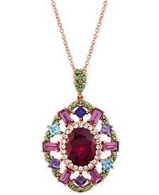 "Le Vian® Multi-Gemstone 18"" Pendant Necklace (4-1/2 ct. t.w.) in 14k Rose Gold"