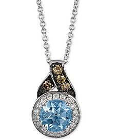 "Aquamarine (5/8 ct. t.w.) & Diamond  (1/8 ct. t.w.) 18"" Pendant Necklace in 14k White Gold"