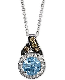 "Le Vian® Aquamarine (5/8 ct. t.w.) & Diamond  (1/8 ct. t.w.) 18"" Pendant Necklace in 14k White Gold"