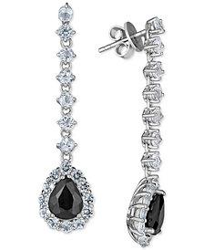 Sapphire (4 ct. t.w.) & White Topaz (3-1/2 ct. t.w.) Drop Earrings in Sterling Silver