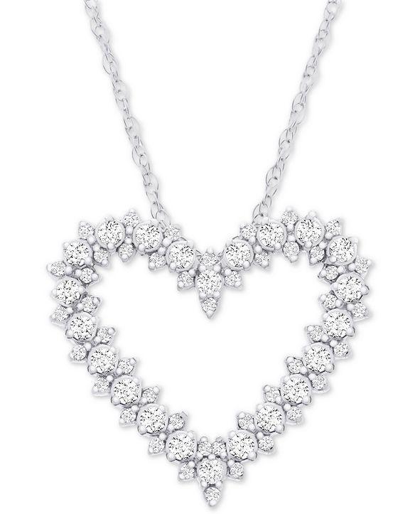 "Macy's Diamond Heart 18"" Pendant Necklace (1/2 ct. t.w.) in 14k White Gold"